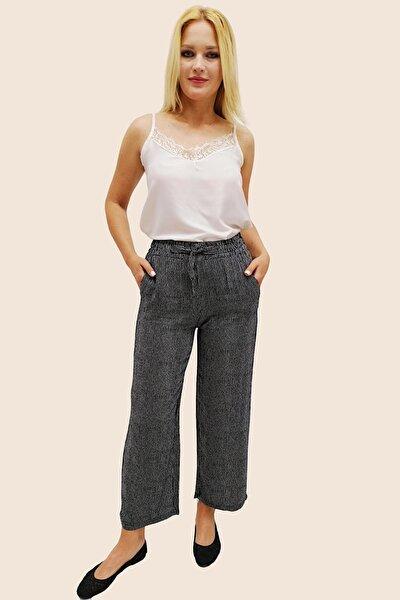 Kadın Siyah Ince Çizgili Beli Lastikli Viskon Pantolon