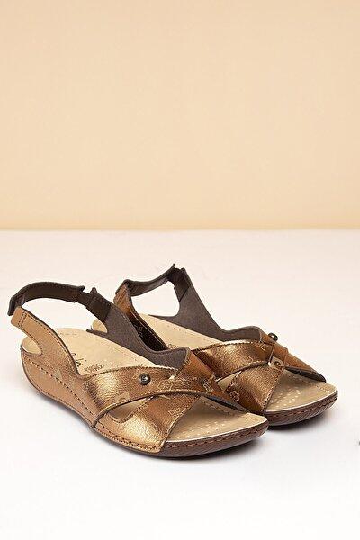 PC-1361 Bronz-Bej Kadın Sandalet