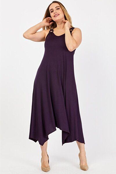 Kadın Genis Askılı Omzu Halka Detaylı Elbise