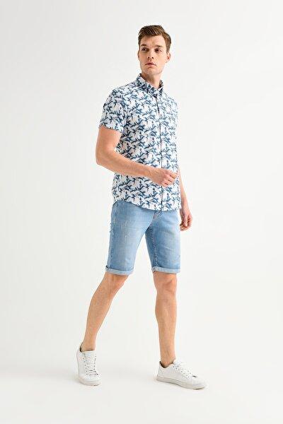 Erkek Mavi Baskılı Alttan Britli Yaka Slim Fit Kısa Kol Gömlek A01Y2083