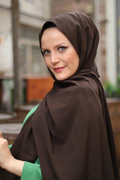 Kadın Kahverengi Medine İpeği Şal 75x200 cm