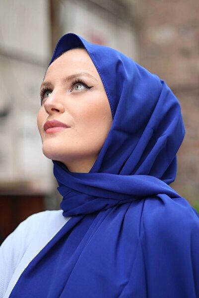 Medine Ipeği Şal Saks Mavi
