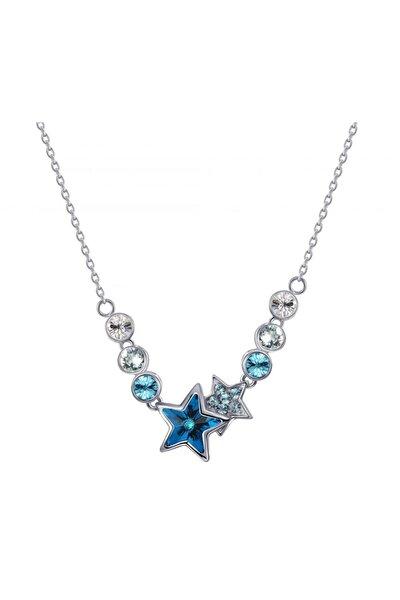 Mavi Swarovski Taşlı, Yıldız Kolye.
