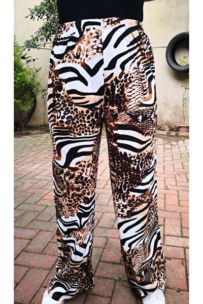 Zebra Desenli Bol Paça Örme Eşofman Altı