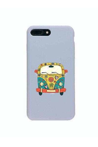 Iphone 7 Plus Premium Lansman Pastel Lila Telefon Kılıfı Peace Desenli