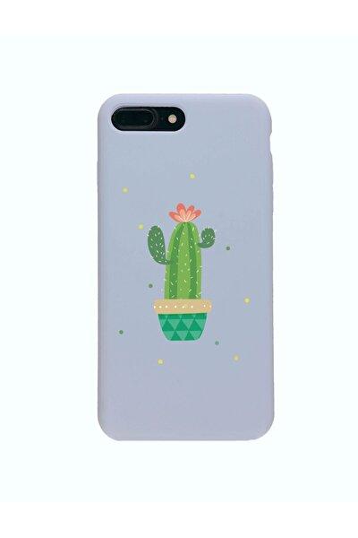Iphone 7 Plus Premium Lansman Pastel Lila Telefon Kılıfı Kaktüs Desenli
