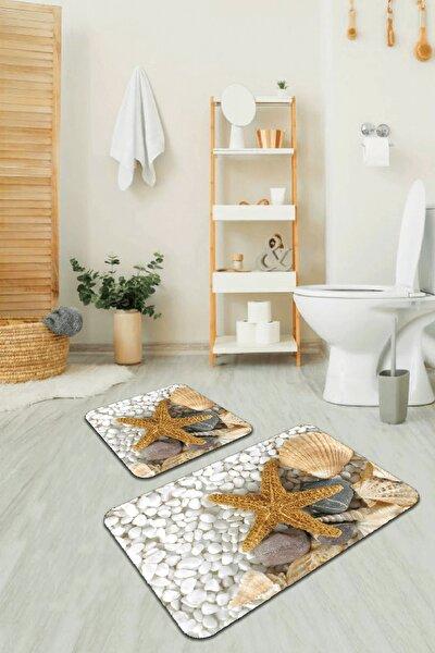 Dijital Banyo Halısı Klozet Takımı 2'li Paspas Seti Bs209 60x90cm + 60x60cm