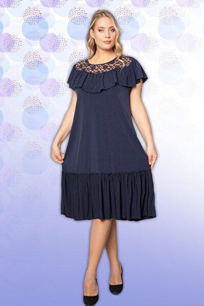 Kadın Elbise Dantel Detaylı Fırfırlı Lacivert