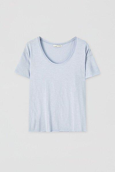 Kadın Çivit Mavisi Biyeli Dikişli Basic T-Shirt 05236307