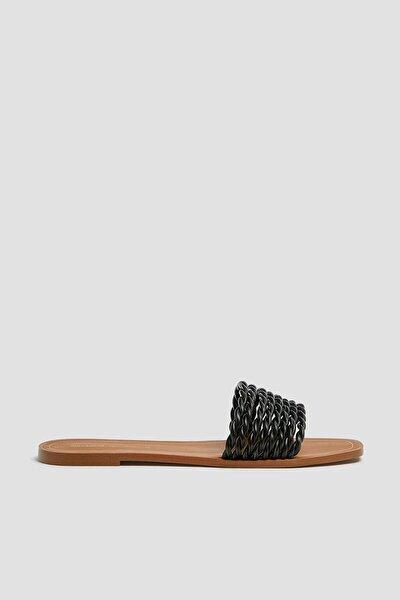 Kadın Siyah Örgü Bantlı Siyah Sandalet 11557540