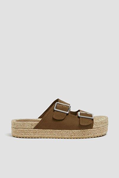 Kadın Haki Tokalı Jüt Tabanlı Sandalet 11662540