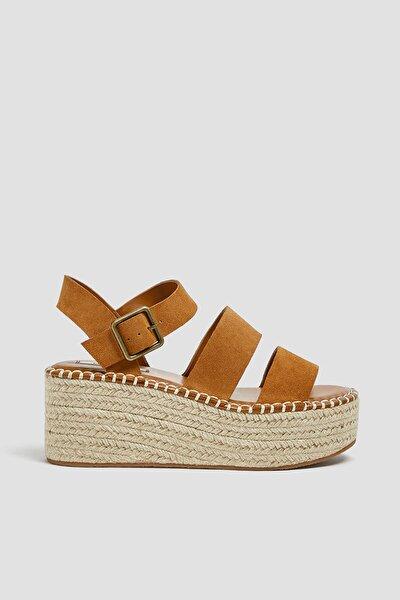 Kadın Deri Kahverengi Deri Hasır Sandalet 11510540