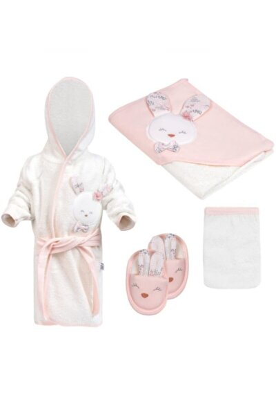 Kız Bebek Havlu Bornoz Seti 826 Somon - Bebek Hediyesi