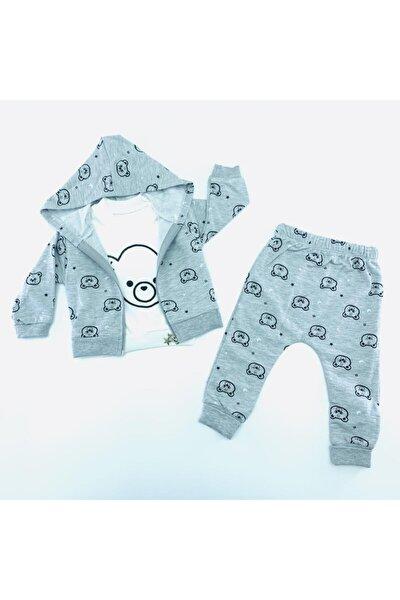Erkek Bebek Kapşonlu 3 Parça Takım Gri