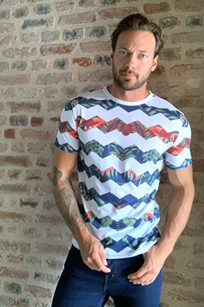 Beyaz Erkek Slim Fit Dijital Baskı T-Shirt TMNSS20TS0610