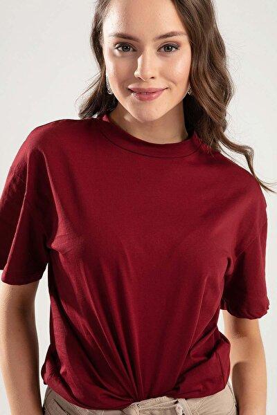 Kadın Bordo Dik Yaka Basic Tişört PTTY20S-701