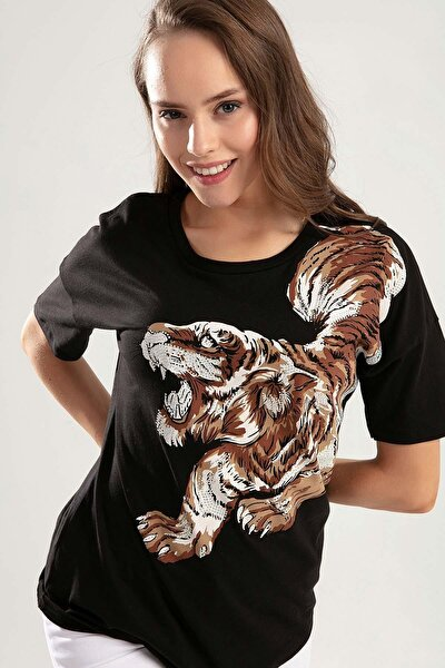 Kadın Kaplan Baskılı Taş Işlemeli Tişört Y20s134-1959