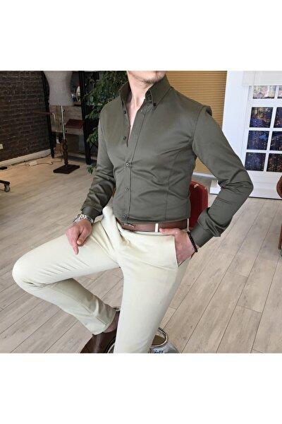 Italyan Stil Slim Fit Dik Yaka Saten Erkek Gömlek Haki T4745