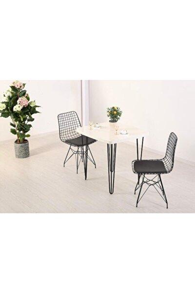 Beyaz 80x70 Firkete Masa Sandalye Takımı 1 Masa 2 Sandalye Seti