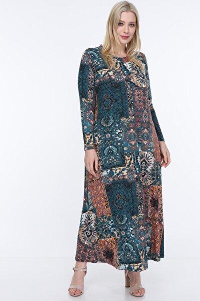Kadın Petrol Etnik Desenli Esnek Viskon Elbise