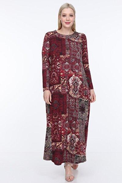 Kadın Bordo Etnik Desenli Esnek Viskon Elbise