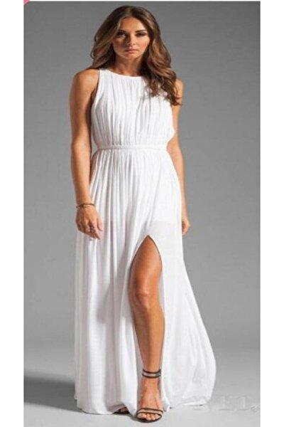 Etek Astarlı Yırtmaçlı Şifon Elbise
