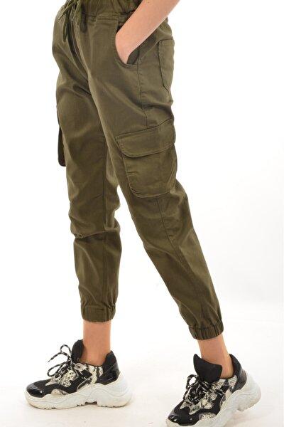 Kadın Kargo Cep Haki Pantolon 9043