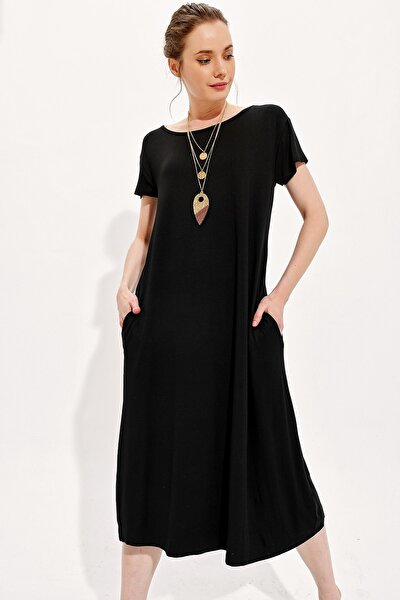 Kadın Siyah Kayık Yaka Cepli Salaş Elbise Alc-X4311