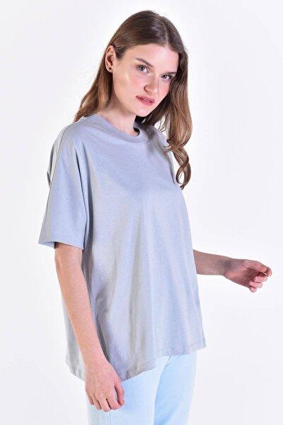 Kadın Buz Mavi Oversize Basic Tişört P0730 - C6 ADX-0000020569