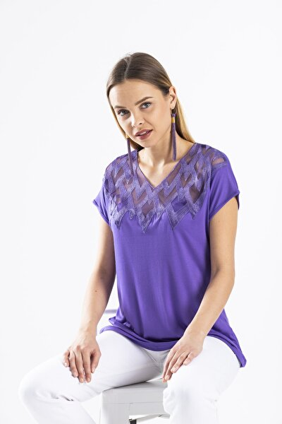 Kadın Mor Yaka Detaylı Bluz