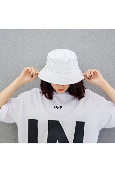 Düz Beyaz Kova Şapka Balıkçı Şapka Bucket Hat