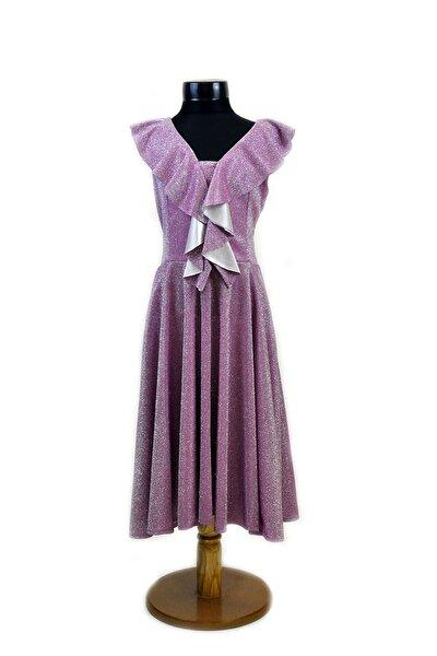 Kız Çocuk Simli Pembe Abiye Elbise