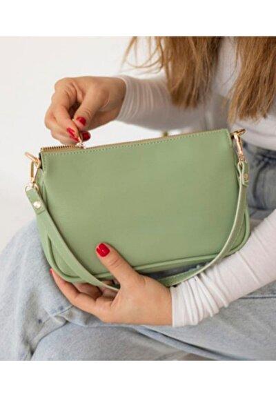 Çapraz Ve Omuz Askılı Bayan Baget Çanta Yeşil