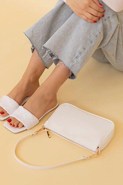 Çapraz Ve Omuz Askılı Bayan Baget Çanta Beyaz