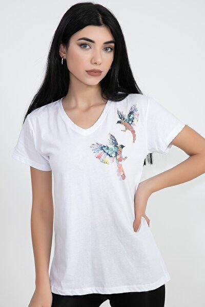 V Yaka Kuş Baskılı Pullu Kadın T-shirt
