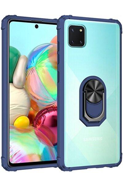 Samsung Galaxy Note 10 Lite Kılıf Standlı Arkası Şeffaf Kenarları Airbag Kapak - Lacivert