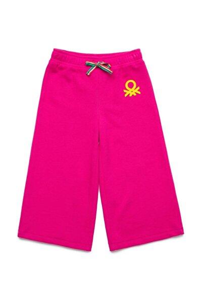 Fuşya Çocuk Renkli Logolu Bol Kesim Eşofman Altı