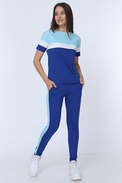 Kadın Mavi Parçalı Garnili Penye Eşofman Takımı