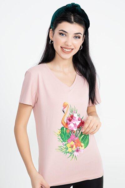 Flamingo Baskı Büyük Pullu T-shirt
