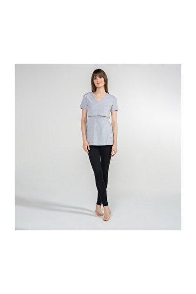 V-Yaka Emzirme T-Shirt - Nora - Gri