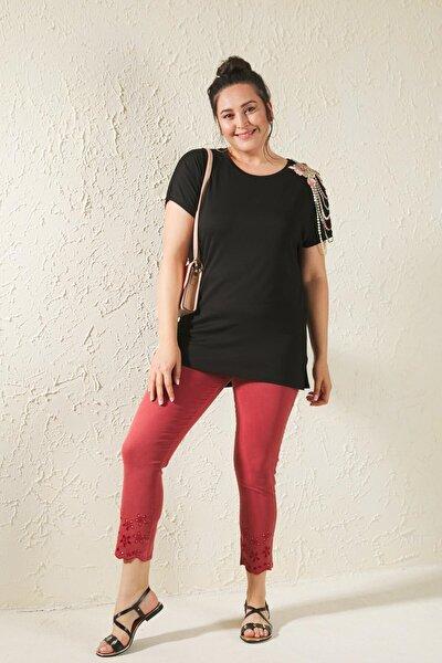 Kiremit Büyük Beden Paça Nakış Detaylı Full Likralı Pantolon