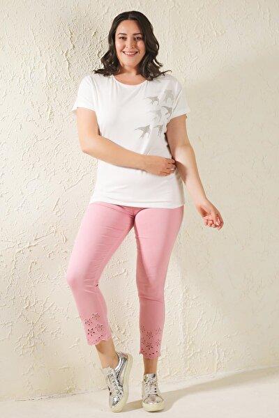 Pembe Büyük Beden Paça Nakış Detaylı Full Likralı Pantolon
