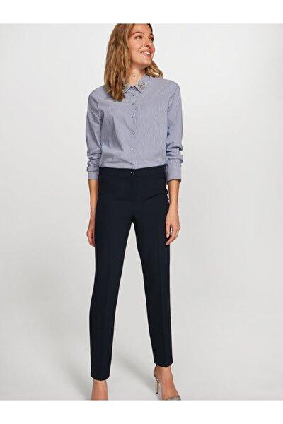 Kadın Lacivert Slim Fit Krep Pantolon 60052 U60052