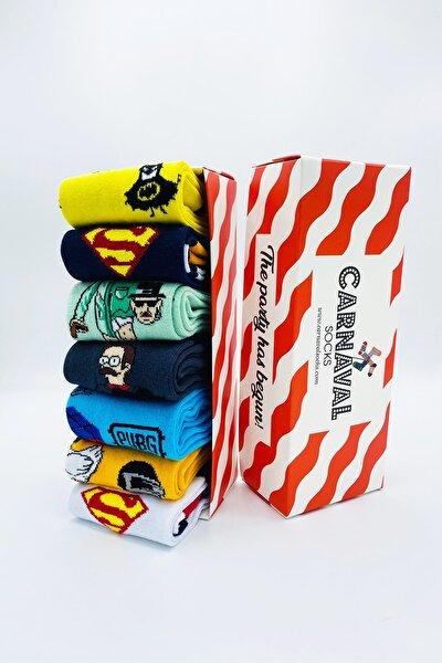 Kahramanlar Desenli Renkli Tasarım Çorap Seti