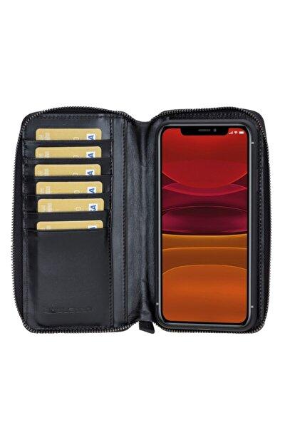 Iphone 11 Promax Rst1 Mw Pouch Siyah Deri Telefon Kılıfı