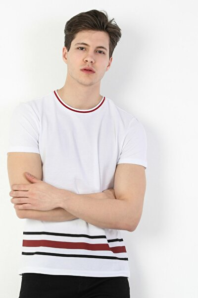 Regular Fit Standart Kol Bisiklet Yaka Beyaz Erkek Kısa Kol Tişört