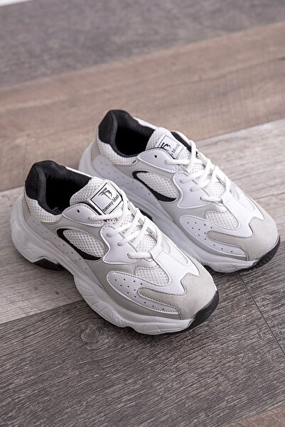 Beyaz Gri Kadın Spor Ayakkabı Beyaz Gri Tb284