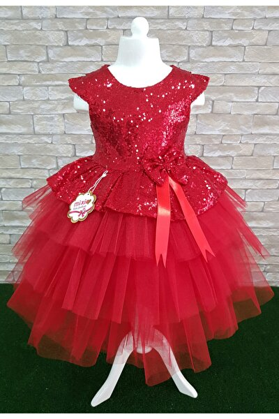 Kız Çocuk Kırmızı Doğum Günü Tüllü Abiye Elbise