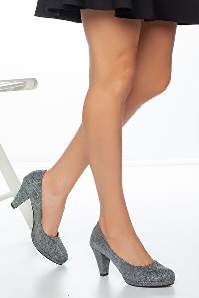 Gri Çupra Kadın Klasik Topuklu Abiye Ayakkabı
