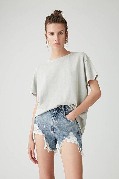 Kadın Açık Gri Soluk Efektli Basic Oversize T-Shirt 05236365